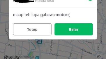Terlalu kocak, driver ojek online satu ini tolak orderan customer karena lupa bawa motor