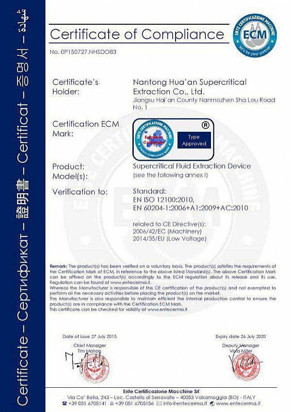 Huaan's CE Certificate of Compliance