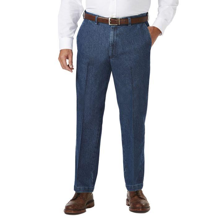 Big & Tall Stretch Denim Trouser, Medium Blue haggar