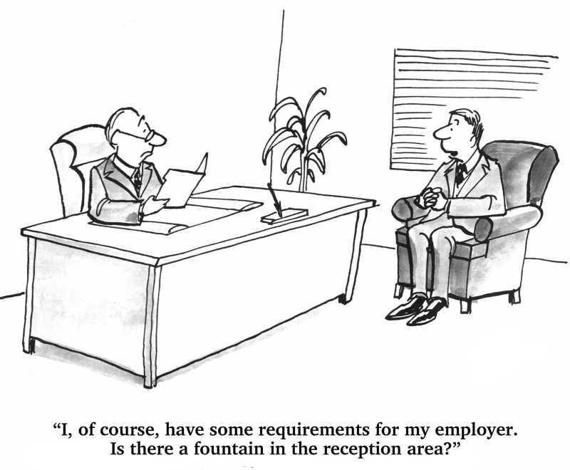 Business cartoon about job search. The job candidate has requirements for his potential employer.