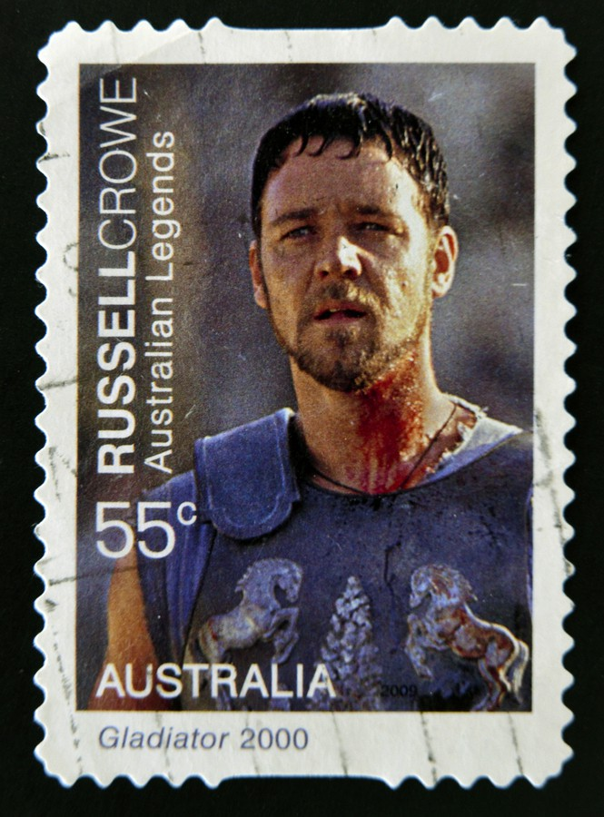 AUSTRALIA - CIRCA 2000: A stamp printed in Australia shows Russell Crowe as Gladiator circa 2000