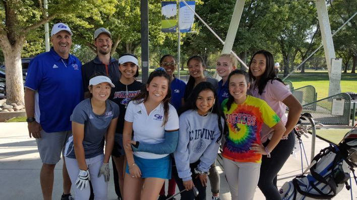 Andrej Bevins and the Christian Brothers Falcons Girls Golf Team