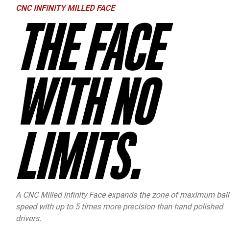 CNC Infinity Milled Face - The Face with no limits. A CNC Milled Infinity Face expands the zone of maximum ball speed with up to 5 times more precision than hand polished drivers.