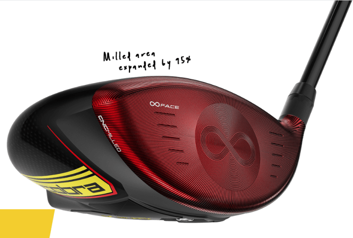 Photo of Cobra SPEEDZONE Driver illustrating CNC Milled Infinity Face has been expanded by 95% over 2019 model