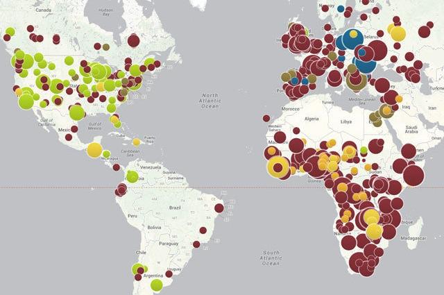 Karta med cirklar i olika färger