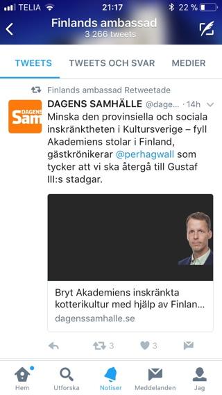 Skärmdump från Twitter, Finska Ambassaden retweetar Dagens Samhälles tweet om min artikel.