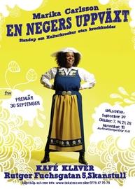 Teateraffisch med svart kvinna i Sverigedräkt