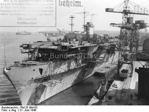 Hangarfartyget Graf Zeppelin under byggnad 1940
