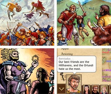 Fyra skärmdumpar från spelet King of Dragon Pass