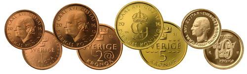fram- och baksidor på mynten, 1- och 2-kronan koppar, 5-kronan guld, 10-kronan ljust guld