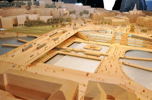 Modell av Nya Slussen sedd från norr