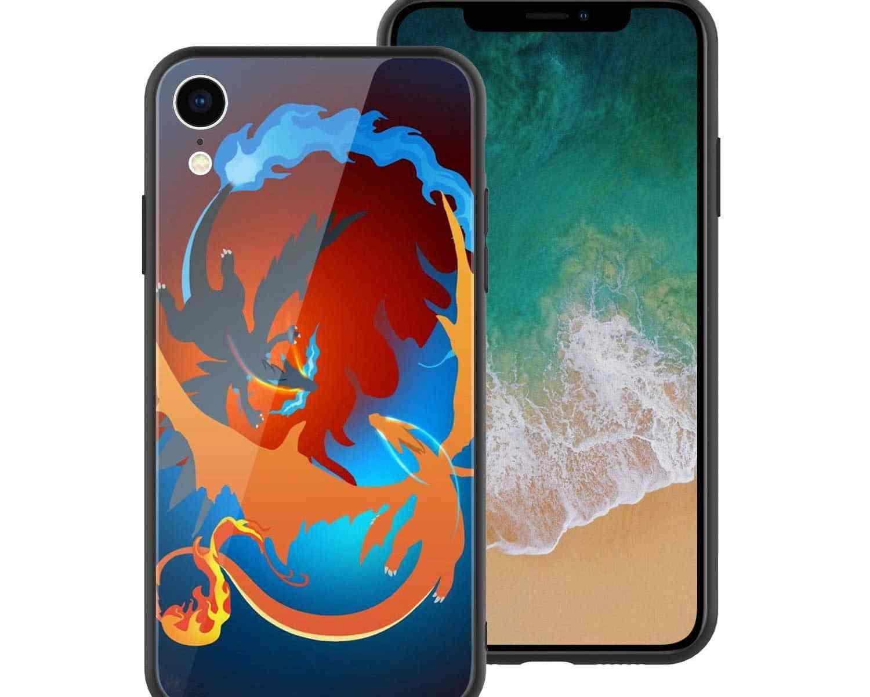 iPhoneXR スマホケース ソフトシリコンベース+ガラス背面 メガリザードン