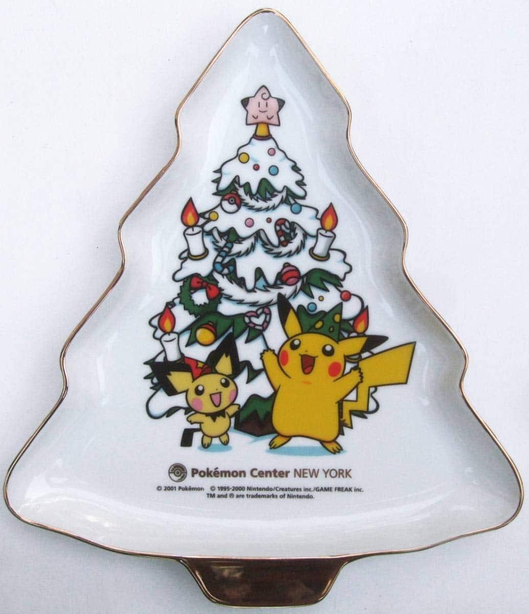 ポケモンセンターニューヨーク限定ピカチュウ&ピチュークリスマスツリープレート皿