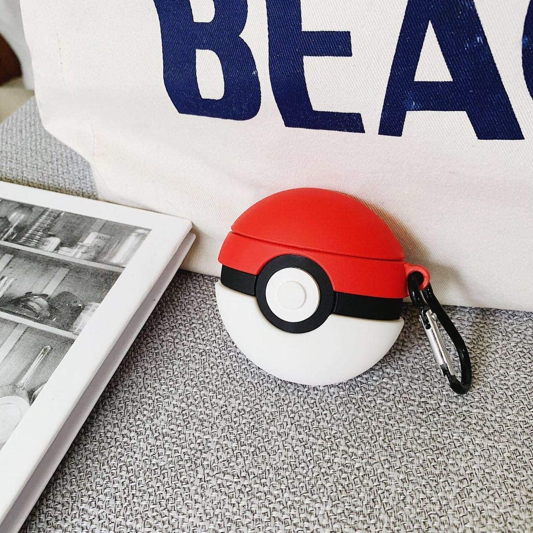 AirPods1 airpods2 Airpods Pro ポケモン モンスターボール カバー シリコン 収納 ワイヤレス充電 防滴防塵 3D (モンスターボール AirPods PRO)