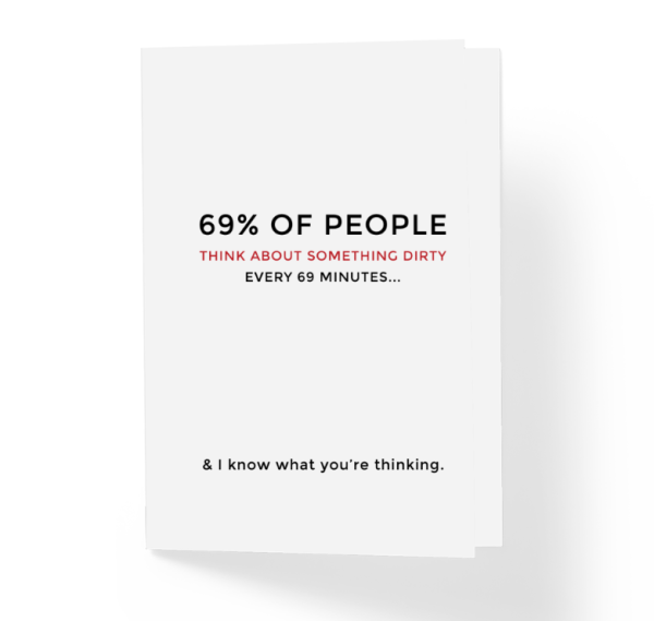 every 69 minutes funny greeting card