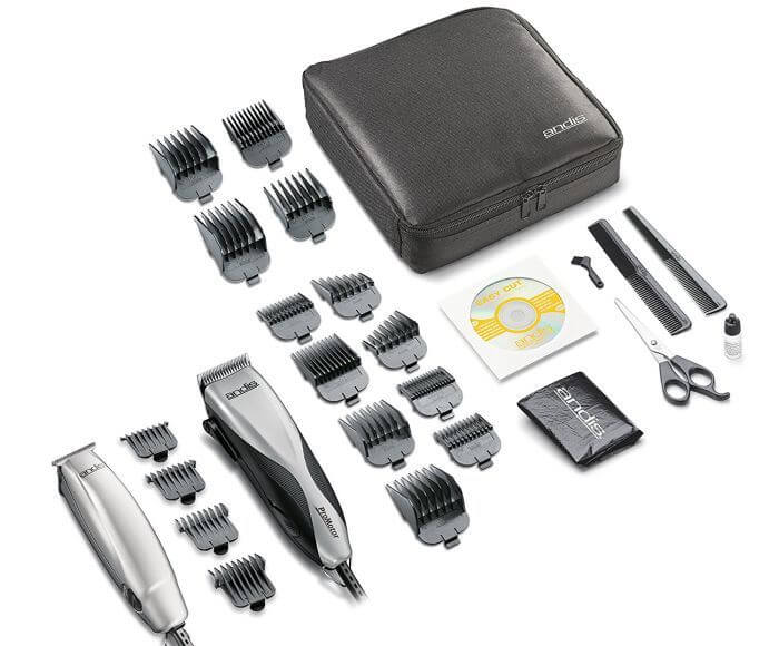 Andis Promotor kit features 27 tools for men's grooming needs.