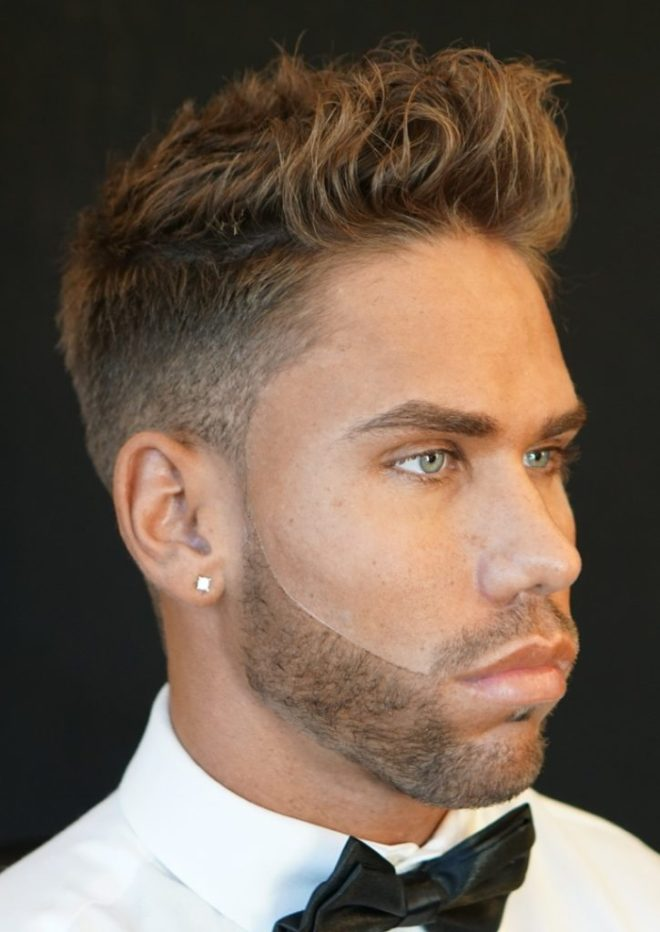 Low Sharp Fade Messy Short Hair (Right Side View)