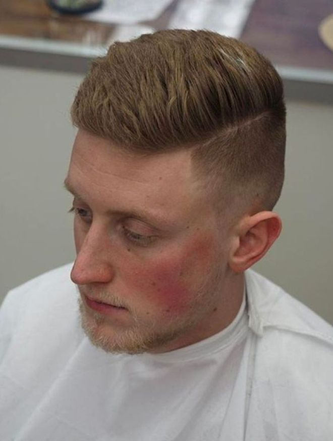 Texture Sharp Fade Side Parting Haircut