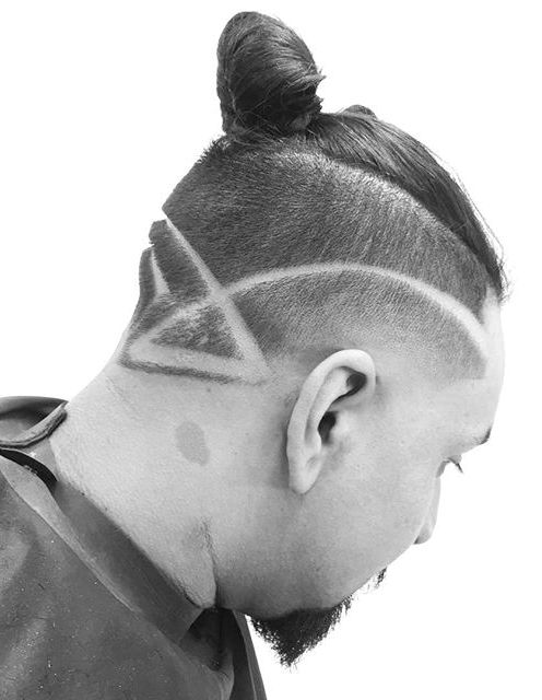 Sharp Fade Haircut With Top Knot Bun