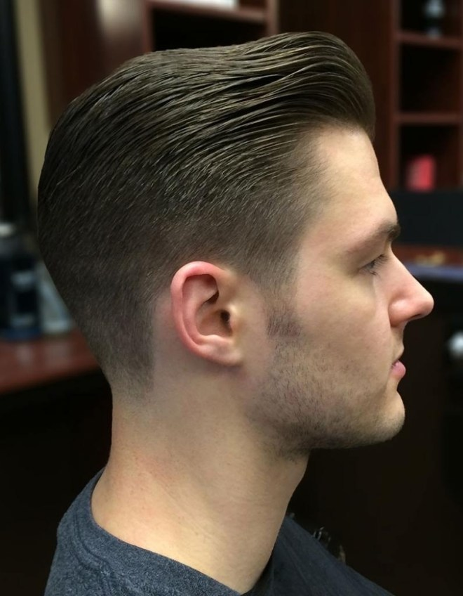 Slicked Back Pompadour Haircut With Thick Hair