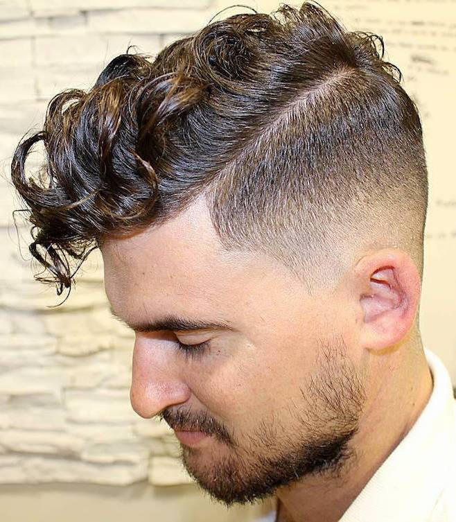 Curly Comb over Fade
