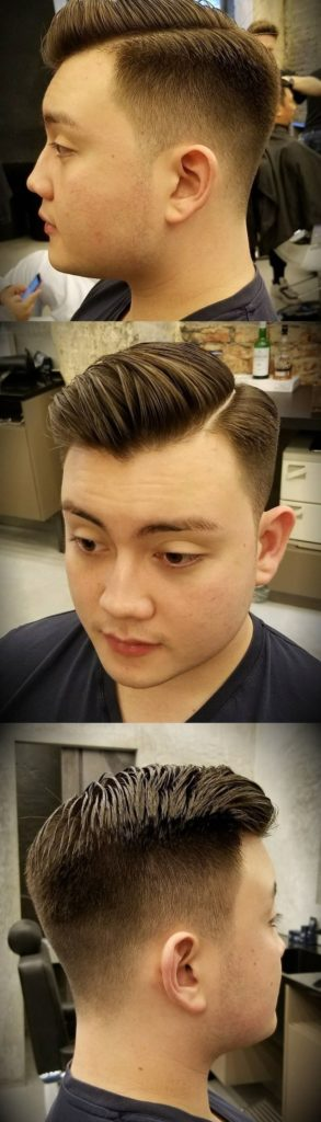 Taper Straight Razor Parting Hairstyle