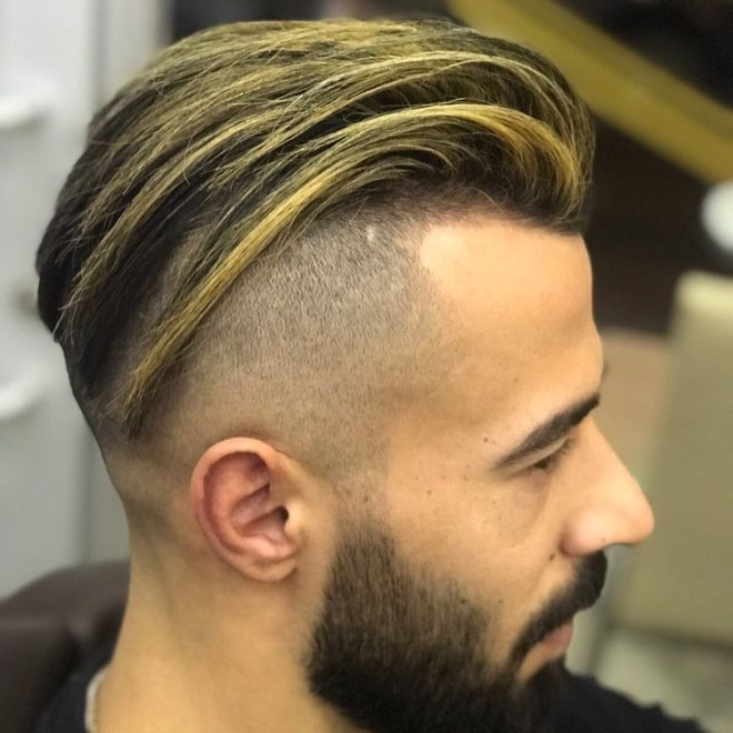 Comb Back Hair with Blonde Highlight