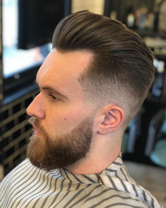 Low Faded Pompadour Slick Back Hair