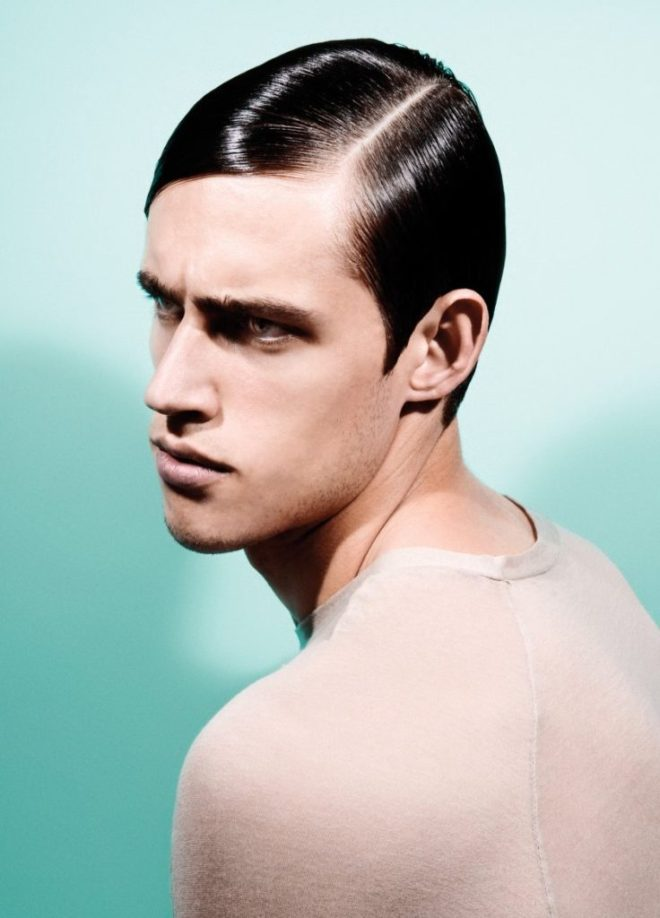 Side Part Hard Slick Hairstyle