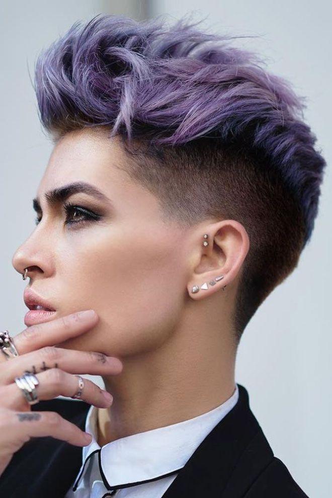 Undercut Quiff with Purple Hair