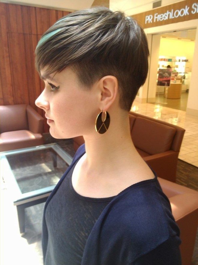 Brown Pixie Haircut with Green Highlight