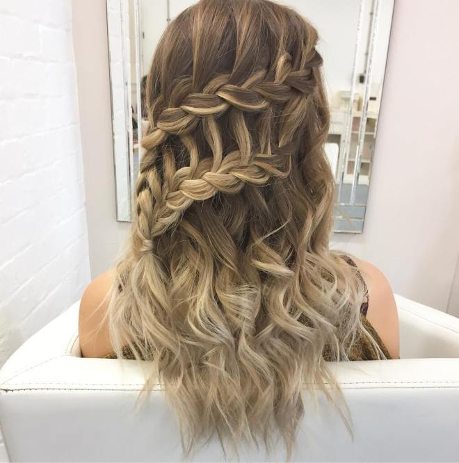 Double Waterfall French Braid