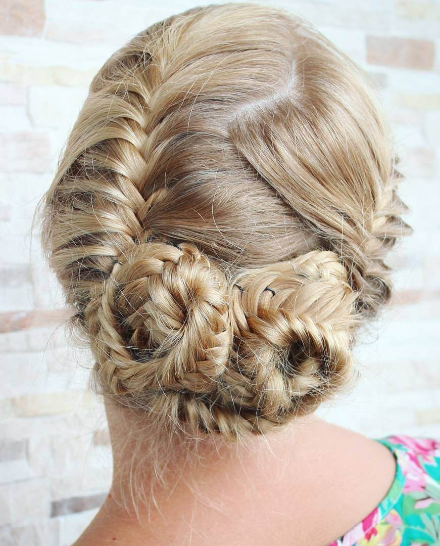 Feed In Braids Styled In Low Bun Hair Design T Low Buns