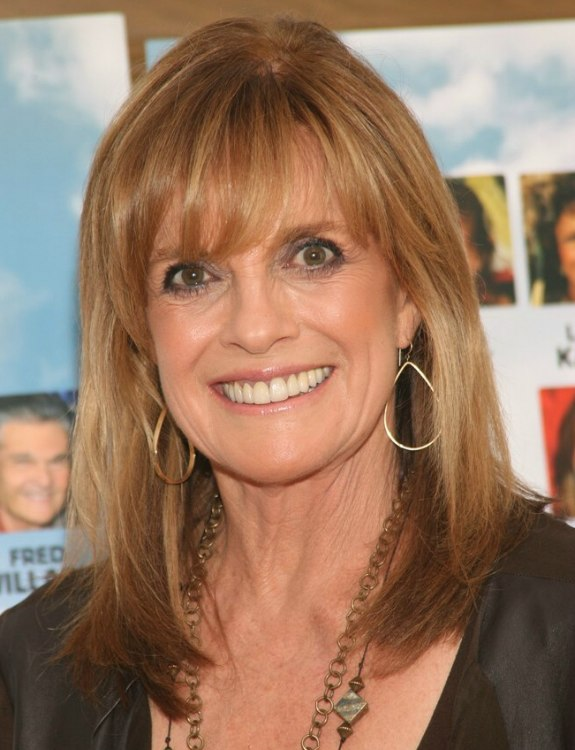Linda Gray Wearing Her Hair Long With Angled Sides And