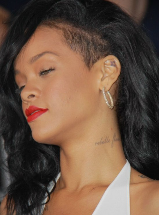 Rihanna Wearing Long Black Hair With A Shaved Side