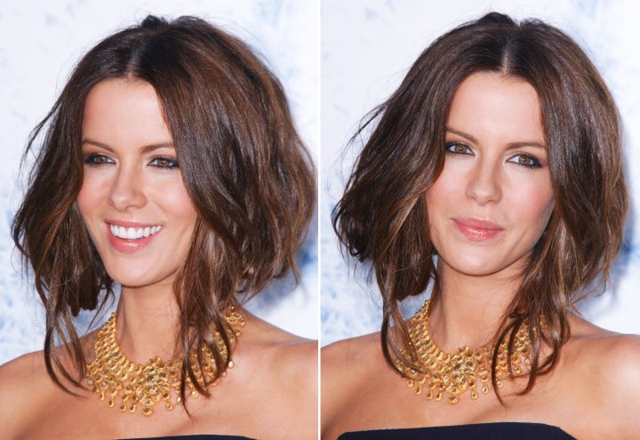 Kate Beckinsales Hair Secured Under To Imitate A Plunged