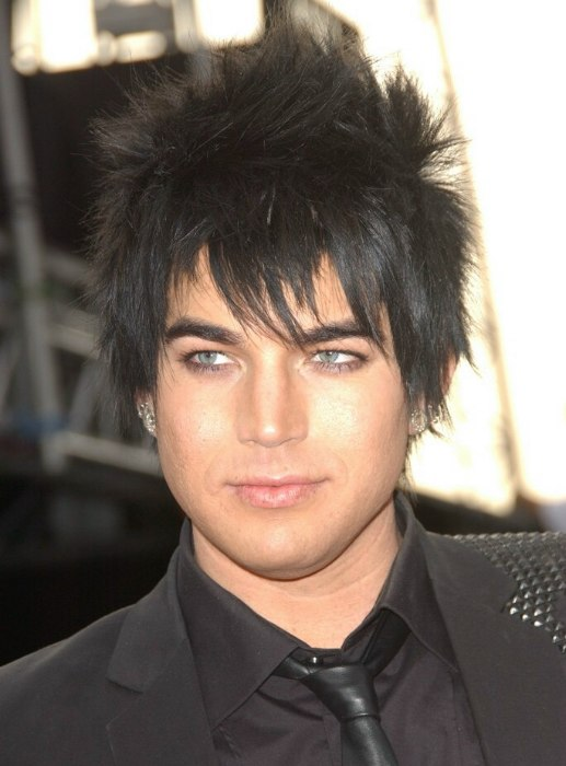 Adam Lamberts Spiked Hairstyle With A Blue Coal Dark Color