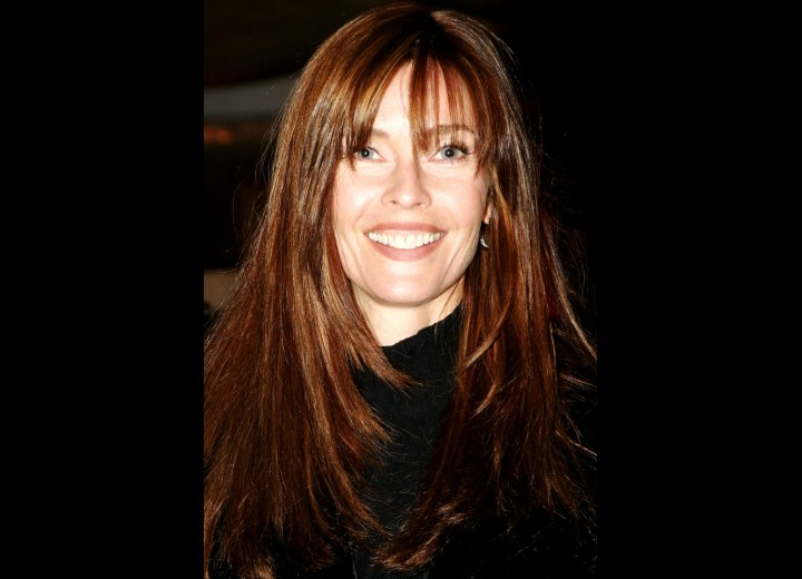 Carol Alt Long Haircut Angled On The Sides And Falling