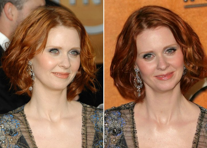 Cynthia Nixon With A Semi Short Hairstyle That Covers Her