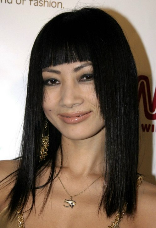 Bai Ling Long Sleek Hairstyle With A Straight Face