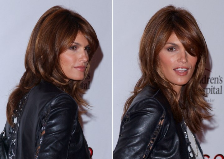 Cindy Crawford Sporting A Long Easy Maintenance Hairstyle