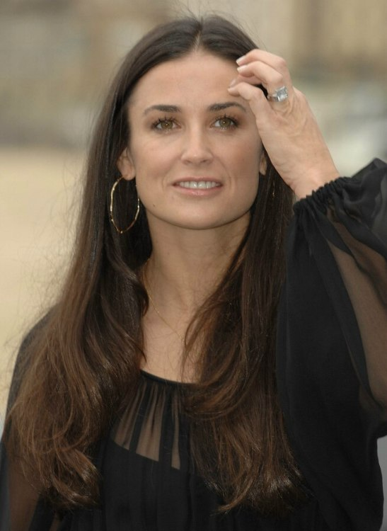 Demi Moore Long Center Parted Hairstyle For A Square