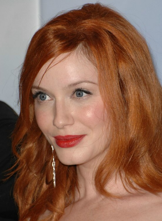 Christina Hendricks Long Red 1960s Hairstyle With Lazy