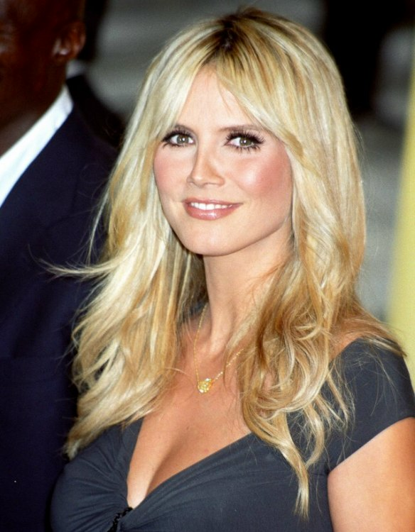 Heidi Klum Long Billowing Hair With Tapered Sides And A