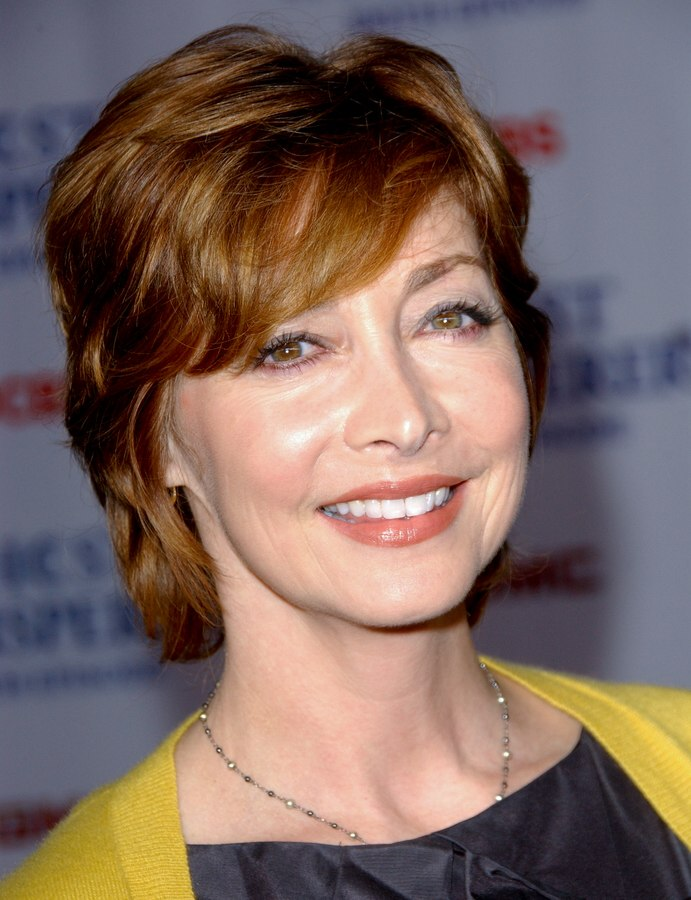 Sharon Lawrence Short Shag Haircut That Covers Half Of