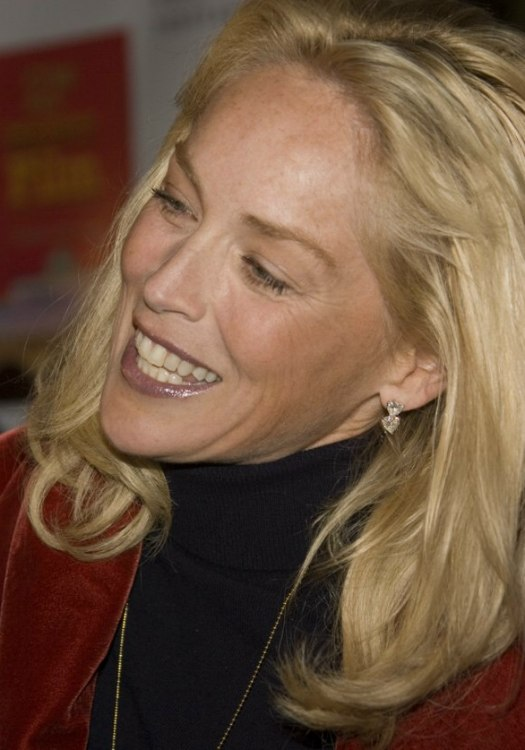 Sharon Stone Wearing Her Hair Long With Curls