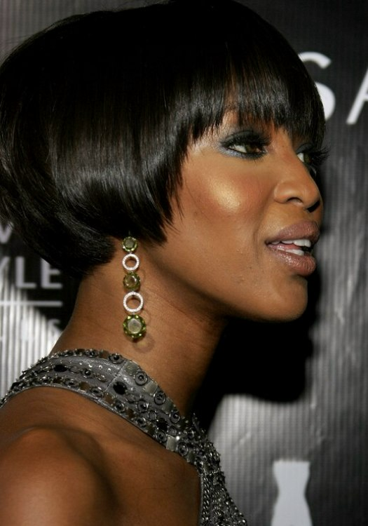 Naomi Campbell With Her Black Hair Cut Into A Bob