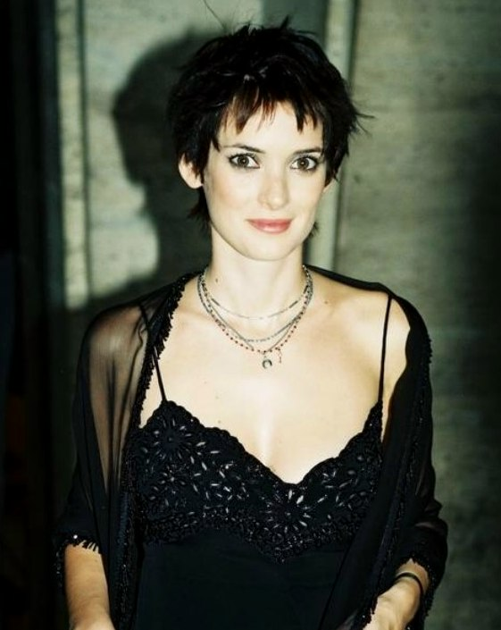 Winona Ryder Sporting A Short And Spiky Above The Ears Haircut