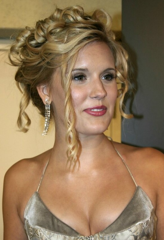 Maggie Grace With Her Hair In An Updo With Tendrils And