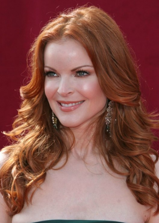 Marcia Cross Wearing Her Long Red Hair In A Wavy Style